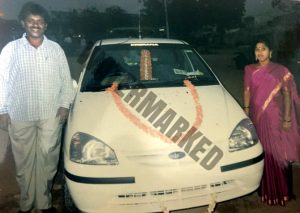 Renuka with his wife and the first car he bought