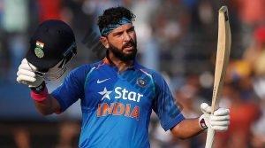 Cricket - India v England - Second One Day International - Barabati Stadium, Cuttack, India - 19/01/17. India's Yuvraj Singh celebrates after scoring a century. REUTERS/Adnan Abidi